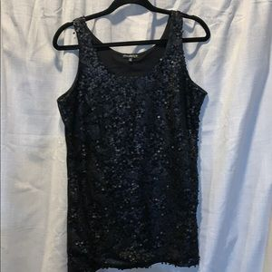 Black shirt with sequence on the front